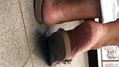 Candid latina mature feet french pedicure close-up part 2