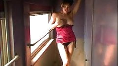 Lisa Boyle on a train