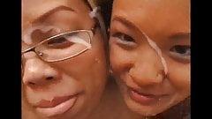 Asian schoolgirls double blowjob and facial