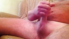 WANKING MY NICE SHAVED COCK ! ANYONE WANT A GO ?
