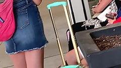 Cute teen in jean skirt