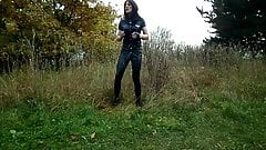 Sandralein33 Smoking Police Woman in Lack Leggins Outdoor