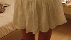 Short white skirt and nothing else