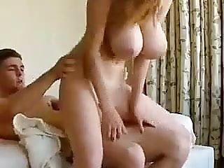 Huge tits bouncing as girlfriends rides boyfriend