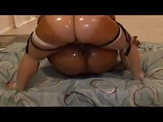 Preview 6 of Sexy ebony whores get their asses oiled and ride dildo together