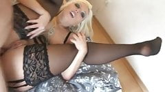 Blonde German amateur enjoying anal in black stocking garter