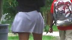 Black Bubble Booty Bobbling in Skirt