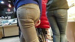 Sexy ass in grey jeans