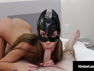 Hot Young Kimber Lee Covers Her Cat Mask With Sticky Load!