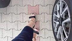 CD feet walking in wedge sandals