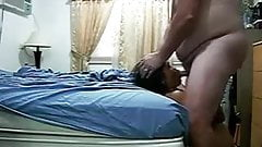 Amateur Asian Wife Bangs fat Hubby and swallows