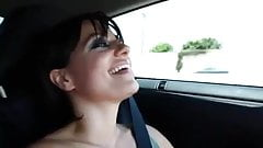 Pretty girl Masturbating While Driving