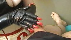Rubber Nylon Nurse Handjob Glove Long Red Nails