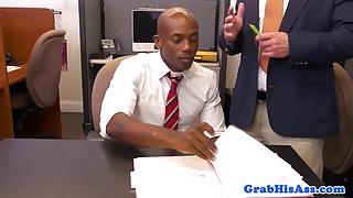 Black stud dicksucking his new boss