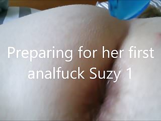 preparing for her first analfuck with a blue dildo Suzy 1