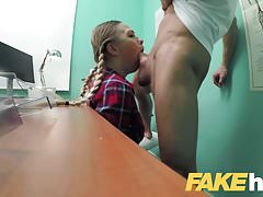 Fake Hospital Cute pigtailed cleaner sucks and fucks cock