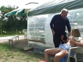 Cute blonde and an old man fucking outdoor
