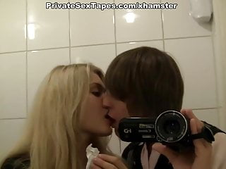 Hot and sexy couple fucking heavily in the public restroom