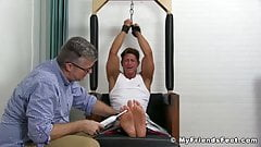 Handsome muscle stud tied up and tickled by horny master