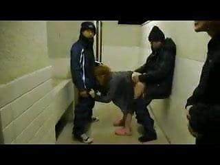 Girlfriend orgy in public toilet