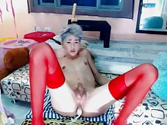 Hot Sissy In Stockings Jerking Off