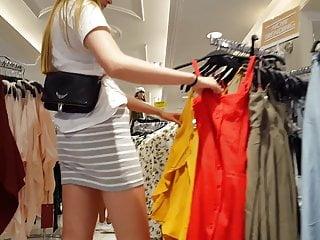 Candid voyeur skinny blonde teen in tight gray skirt mall