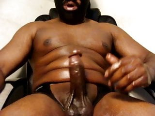 Thick Black Oily Cock Beast cumshot large