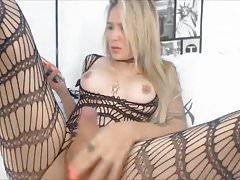 Pretty Blonde Shemale Wanks Her Hard Cock