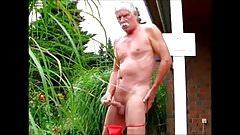 Old men jerking off in the garden