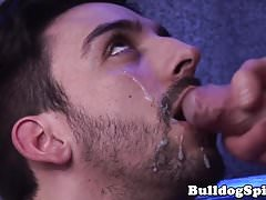 Asslicked british hunk facialized at the club