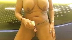 Sexymilfsue vibrator in pussy tits out on Sunbed
