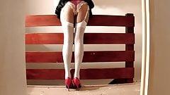 Gymslip Satin Panties And White Stockings