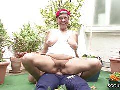 German Young Boy Seduce His Granny to Fuck in Garden