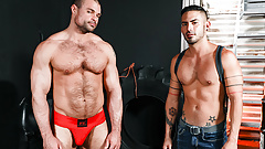 Bareback gay anal with a Jock and his boy toy
