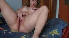 Hairy chubby girl playing alone