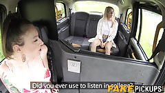 Young Brit pleasures her lesbo taxi driver until she cums