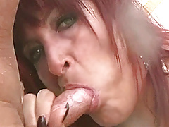 Horny amateur Mom with big tits sucks and fucks with cum