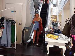 Candid voyeur blonde teen model in blue dress