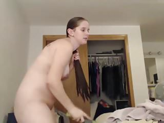 Cute Pregnant Brunette Shower and Hair Brushing, Long Hair