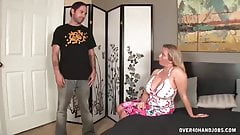 Busty milf jerks off her messy step-son