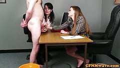 Office babes stroking dick during CFNM fetish's Thumb