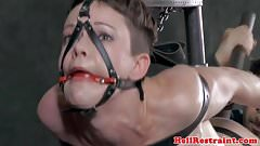 Ballgagged sub dildofucked while restrained