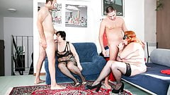 LETSDOEIT - Mature Swingers Party with Two Fat Women