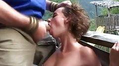 Mountain fuck fest babes takes big cock oudoor hard
