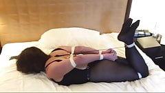 Slave helpless in secure hogtie