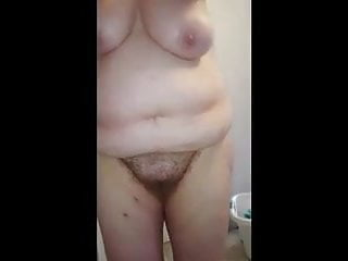 lotion on her bbw body, hairy pussy, big tits