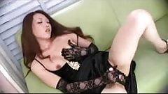 Asian girl play with dildo