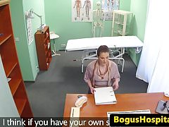 Cocksucking sales rep pussyfucked by doctor