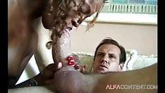 Black slut blows hard white cock until she receives a facial