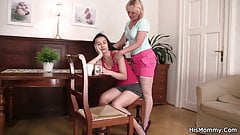 Blonde mommy and teen go lesbian